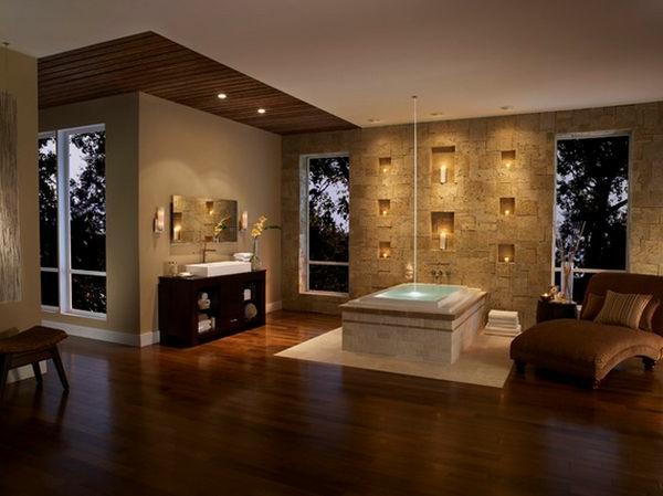 Badeinrichtung mit Stil holz bodenbelag sofa ruhebett