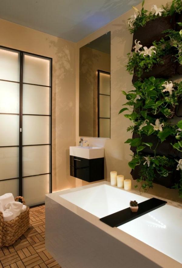 Badeinrichtung mit Stil holz kerzen waschbecken