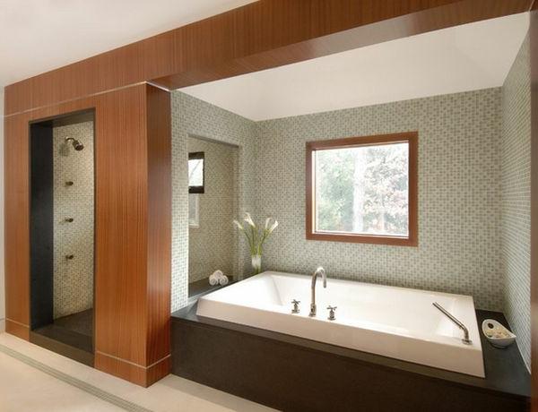 Badeinrichtung mit Stil holz wandgestaltung fenster