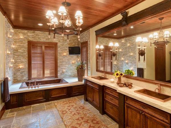 Badeinrichtung mit Stil holz warm texturen rollläden