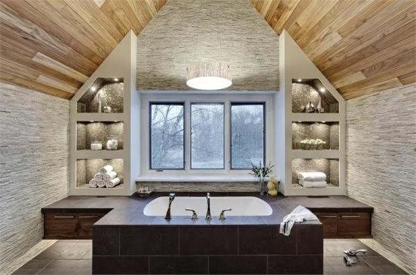 Badeinrichtung mit Stil texturen baumaterial waschbecken badewanne