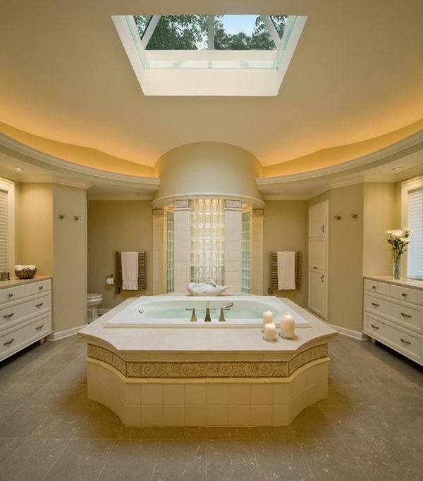 Badeinrichtung mit Stil texturen hell indirekt beleuchtung muster