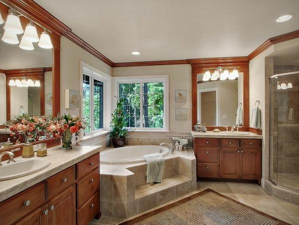 Badeinrichtung mit Stil texturen holz oberfläche teppich spiegel