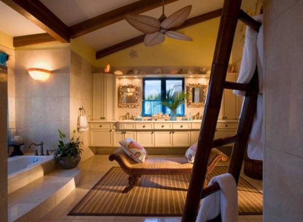 Badeinrichtung mit Stil texturen natürliche stoffe badewannen