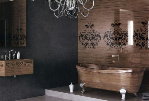 attraktive badezimmer mit badewannen aus holz. Black Bedroom Furniture Sets. Home Design Ideas