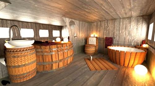 Badezimmer Badewannen aus Holz läufer