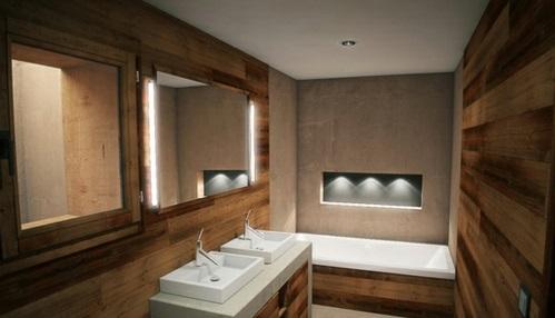 Attraktive badezimmer mit badewannen aus holz - Spiegel aus holz ...