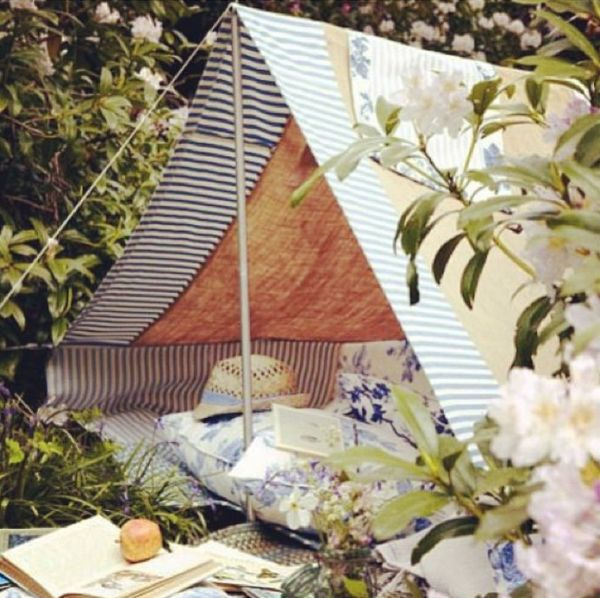 Bastelideen im Garten zelten gartenmöbel