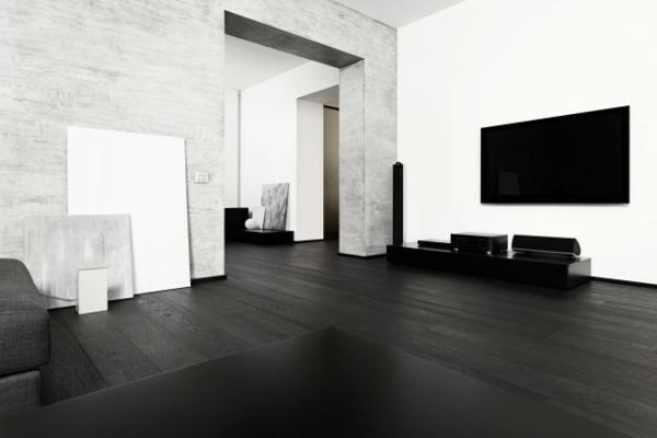 Bodenbelag  Massivholz schwarz lackiert dauerhaft fest