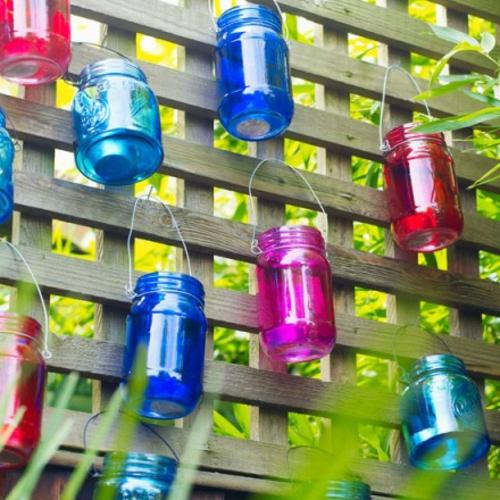 Gartendeko blumen bunt glas laternen gitter