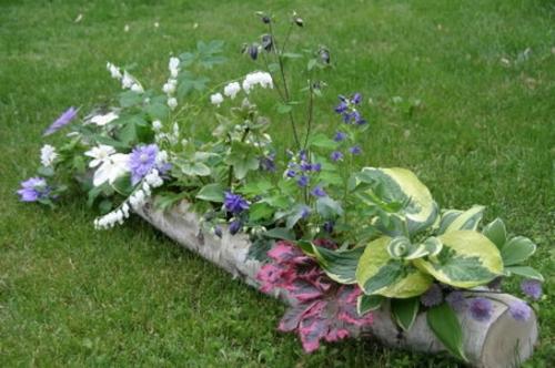 Gartendeko grün holz pflanzen