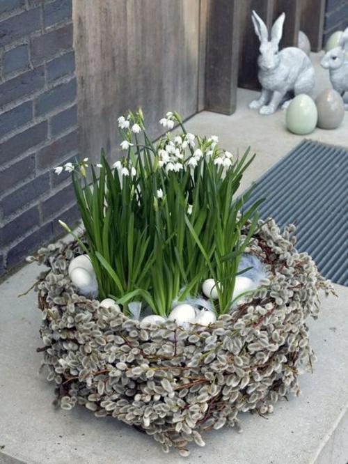 Osterdeko basteln blumen frühling nest blüten