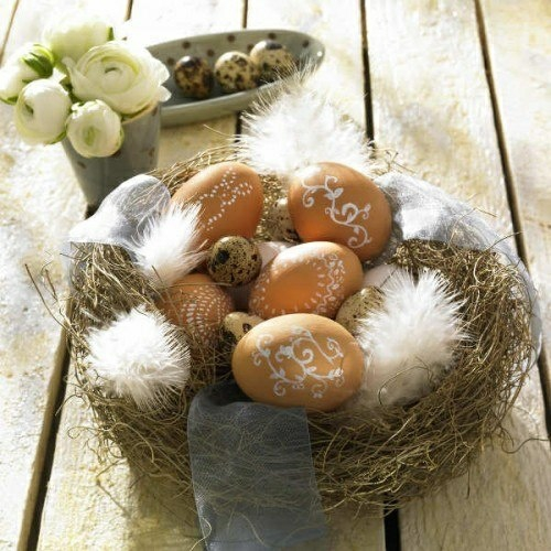 Osterdeko basteln blumen frühling nest