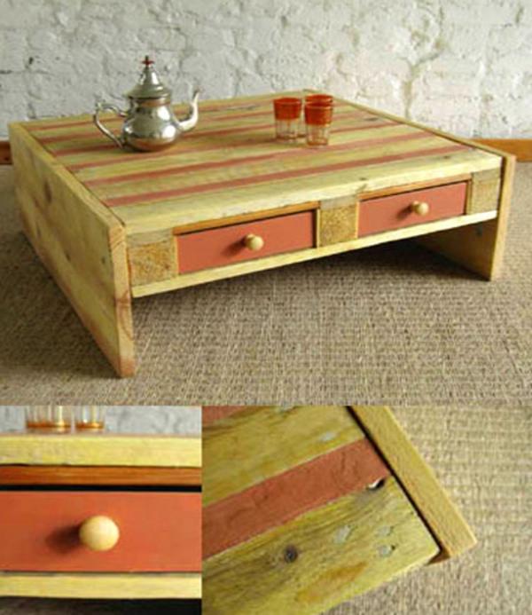DIY Möbel aus Europaletten couchtisch schubladen