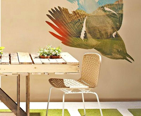 DIY Möbel aus Europaletten esstisch mit stühlen rattan