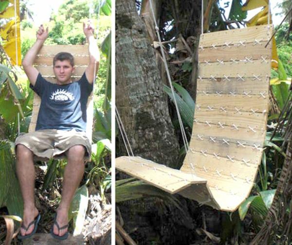 DIY Möbel aus Europaletten schaukel stuhl baum garten