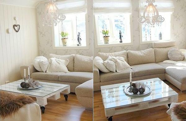 DIY Möbel aus Europaletten wohnzimmer tisch weiß rollen glasplatte