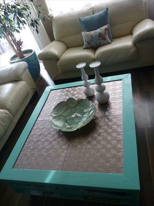 DIY Tische aus Europaletten couchtisch lackiert tischplatte metall