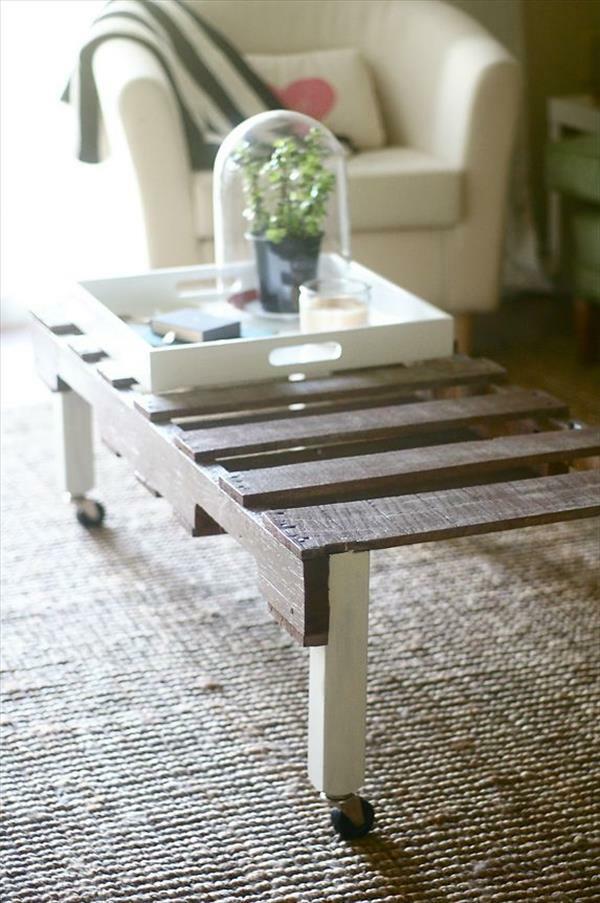DIY Tische aus Europaletten couchtisch rollen