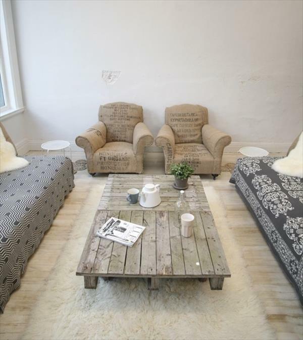 DIY Tische aus Europaletten couchtisch rustikal look