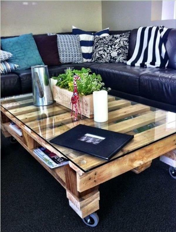 DIY Tische aus Europaletten couchtisch wohnzimmer rollen
