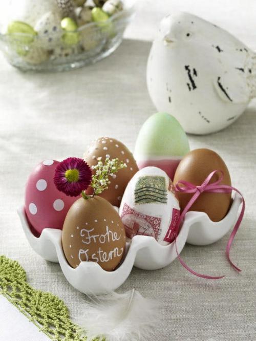 Dekoideen Osterdeko mit Ostereiern eierverpackung frohe ostern