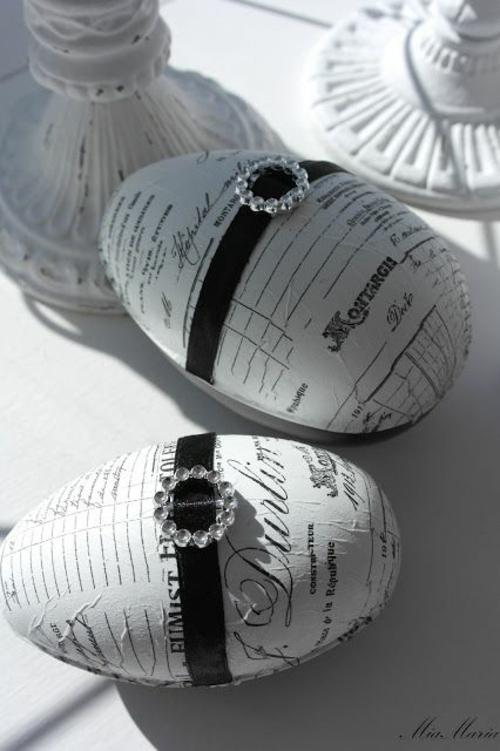 Dekoideen für Osterdeko Ostereiern originell schwarz eleganz