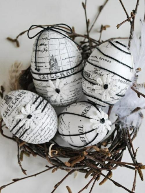 Dekoideen für Osterdeko  Ostereiern schwarz weiß