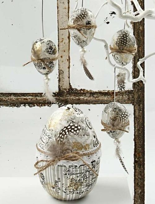 Dekoideen fOsterdeko mit Ostereiern vintage