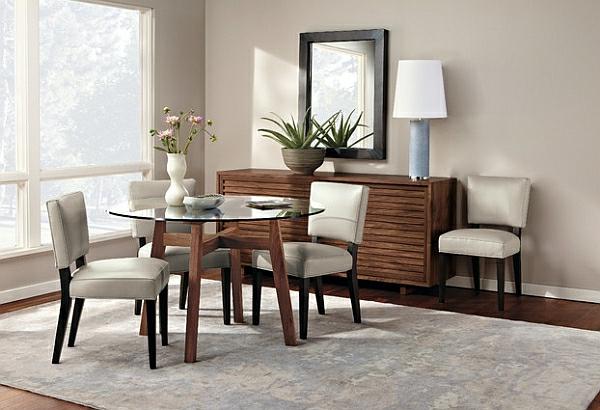 Einrichtungsideen für kleine Esszimmer rund glas tischplatte