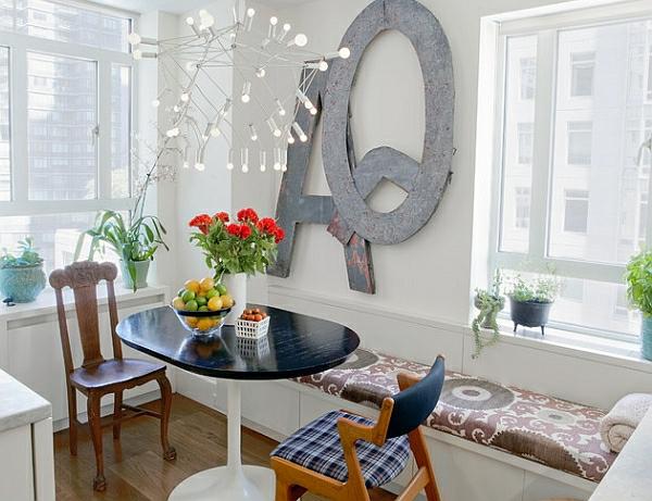 Einrichtungsideen für kleine Esszimmer sitzbank auflage rund