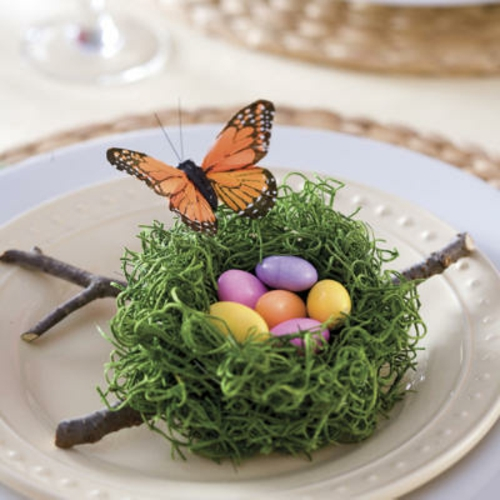 Frühlingsdeko  Ostern basteln nest eier schmetterling