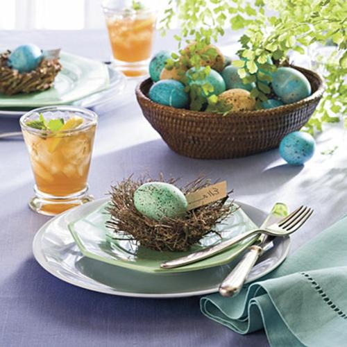 Frühlingsdeko zu Ostern basteln nest ostereier grün