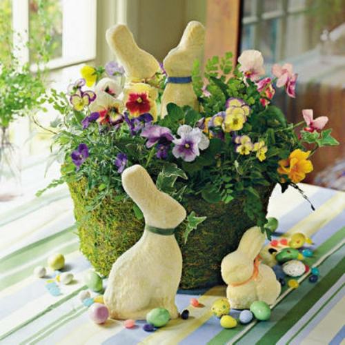 Frühlingsdeko zu Ostern basteln osterhasen