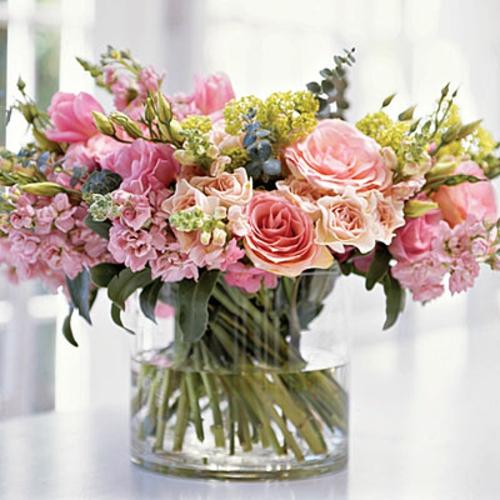 Frühlingsdeko  Ostern basteln rosen glas wasser
