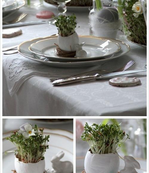 porzellan teller blumenvase eierschale Frische Tischdeko zu Ostern