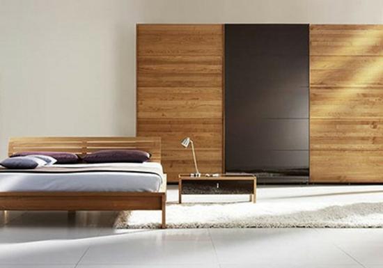 minimalistisch holz warm Garderobe fürs Schlafzimmer robust bett