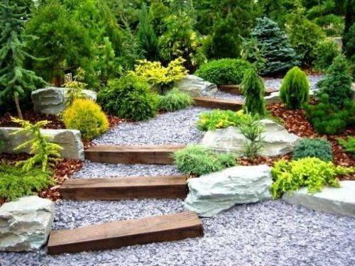 Garten und Landschaftsbau fußweg stufen steine holz