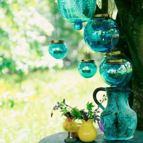 Gartendeko  Gartenzubehör bunt glas blau laternen