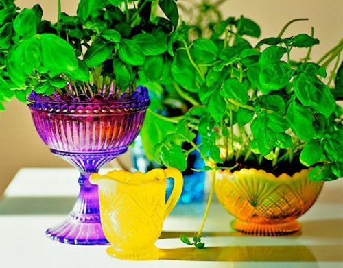 Gartendeko  Gartenzubehör bunt schalen pflanzen