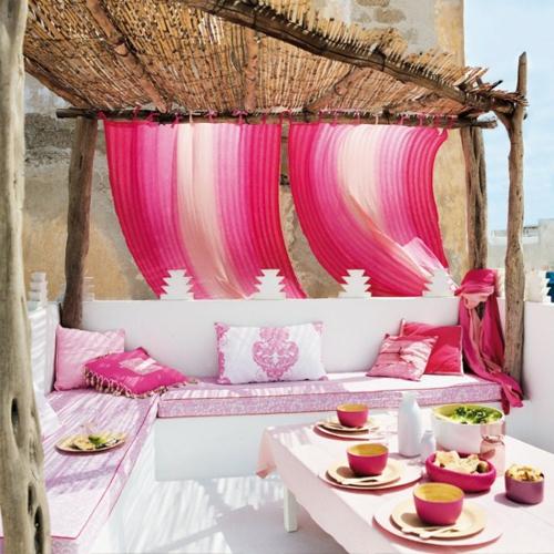 Balkonmobel Runder Tisch : Gartendeko Gartenzubehör gardinen rosa kissen auflagen
