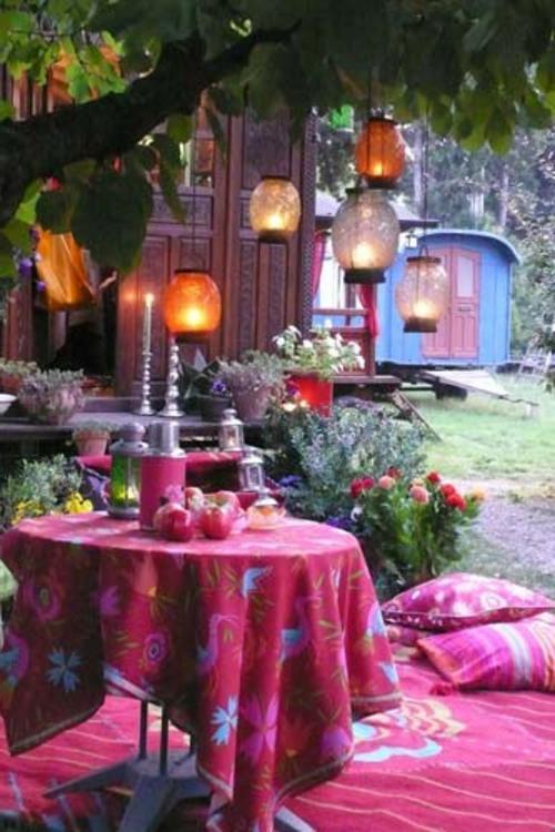 Gartendeko und Gartenzubehör laternen stoffe bunt