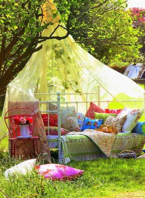 Gartendeko und Gartenzubehör luftig gardinen gelb