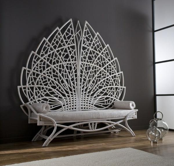 grand acanthus sitzbank mit r ckenlehne aus rattan originell. Black Bedroom Furniture Sets. Home Design Ideas