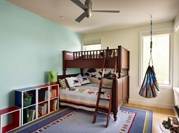 cool Schaukelstuhl im Schlafzimmer bett leiter holz hochbett