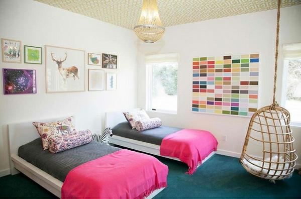 cooler Schaukelstuhl im Schlafzimmer einzelbetten kinder