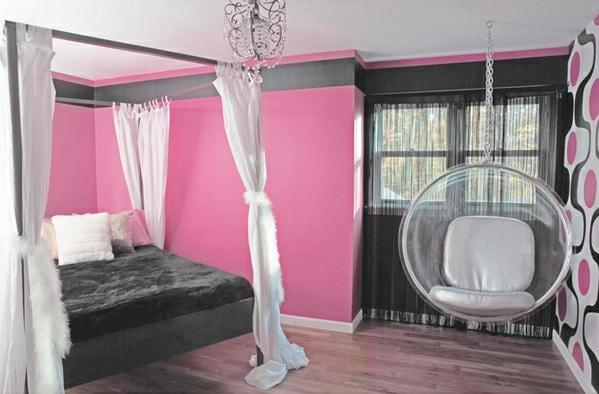 Hinreißender Schaukelstuhl im Schlafzimmer rosa wandgestaltung