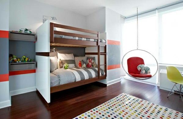 Hinreißender Schaukelstuhl im Schlafzimmer teppich getupft bunt