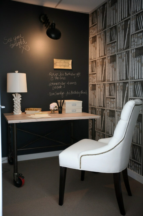 Home Office kompakt schwarz wandgestaltung tischlampe weiß