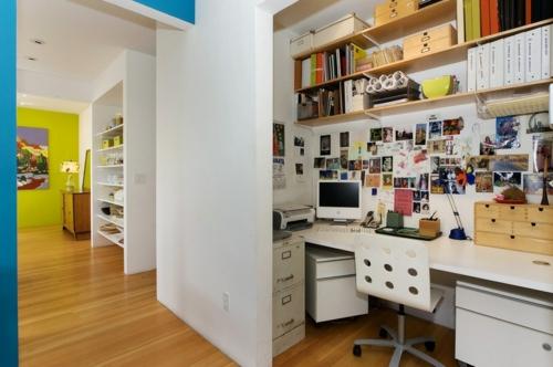 Home Office tisch farben gestaltung wand komputer